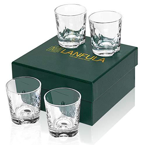 LANFULA Bicchieri da Whisky, Bicchiere Cocktail Cristallo, Set di 4 Pezzi, 230 ml, Bella Confezione Regalo