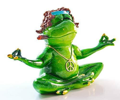 Schneemann-Versand Deko Frosch mit Locken Yoga Peace-Zeichen Joint 18cm breit