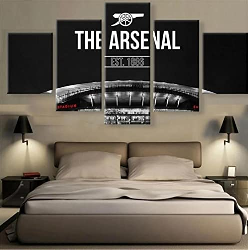 vbiubiuregre 5 Panel Arsenal F.C. Football Team Logo Modular HD Posters Wall Art Pictures Home Decor Canvas Paintings Living Room Accessories(No Frame)