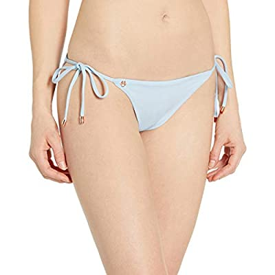 Maaji Women's Sunny Tie Side Reversible Signature Cut Bikini Bottom Swimsuit, Sandbar Light Blue/Floral, Large