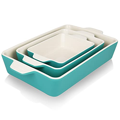 Gohearin Rectangular Ceramic Baking Pans - Baking Dishes for Oven Pans Set Baking Set for Pizza, Bread, Pasta, Lasagna, Chicken, Roast, Beef, Vegetables, Food Heating and Storage