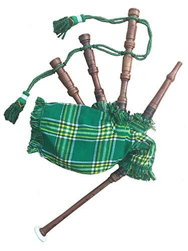 Mini gaita para bebé, juguete para principiantes, de madera de rosa, Royal Stewart Mackenzie MacDonald Stewart negro y cubierta verde irlandés y 2 lengüetas sin cordón
