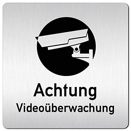 Kinekt3d Leitsysteme XXL Schild - Türschild • 125 x 125 mm • Dieses Objekt Wird Videoüberwacht – Achtung Videoüberwachung 006 • 1,5 mm Aluminium Vollmaterial • 100% Made in Germany