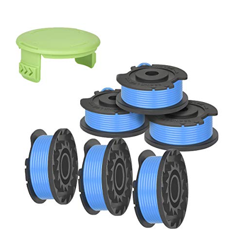 Generep Weed Eater String Trimmer Replacement Spool for Greenworks,0.065' Single Line Auto-Feed String 24V and 40V 80V Cordless Trimmer,Spool Model: 29252(6 Spools, 1 Cap)