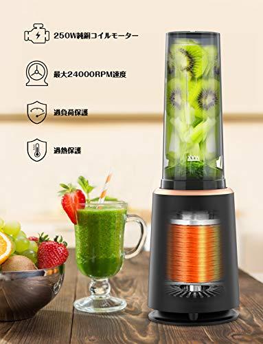 homgeek ミキサー ジューサー ミキサー小型 スムージー 氷も砕ける 人気 果物/野菜/離乳 操作簡単 高速回転ブレンダー 持ち運び おしゃれ