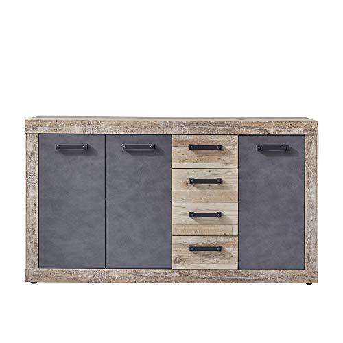 trendteam smart living Kommode Sideboard Kommode Schrank Tailor, 151 x 86 x 37 cm Front: Matera, Korpus: Pale Wood mit viel Stauraum
