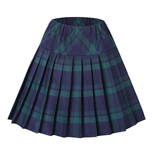 Urban GoCo Mujeres Falda Escocesa Plisada con Cintura Elástica Escuela Uniforme Falda Cuadros (S, 1 Verde)