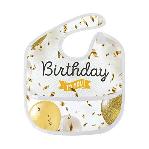 Happy Birthday to You Bavoir imperméable pour bébé Motif ballon Lavable Anti-taches Résistant aux odeurs Serviette salive pour bébés filles garçons tout-petits enfants 6-24 mois (lot de 1)