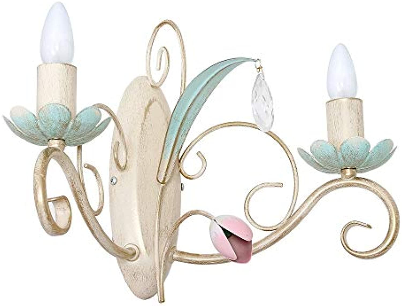 Wandleuchte Luce -2 flammig  Wandlampe Florentiner Stil  Lampe inklusive 2x E14 230V Windsto Leuchtmittel  Leuchte altwei lindgrün