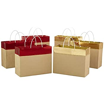 Hallmark 10  Large Gift Bags Assortment for Christmas Wide  Pack of 6  Red and Gold Foil Kraft Paper