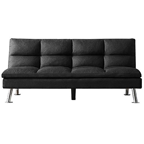 Merax Mini Futon Bed Couch, Modern Sofa Sleeper Design for Living Room or Bedroom, Including Metal Legs and Upholstery Sofabed, 71', Black