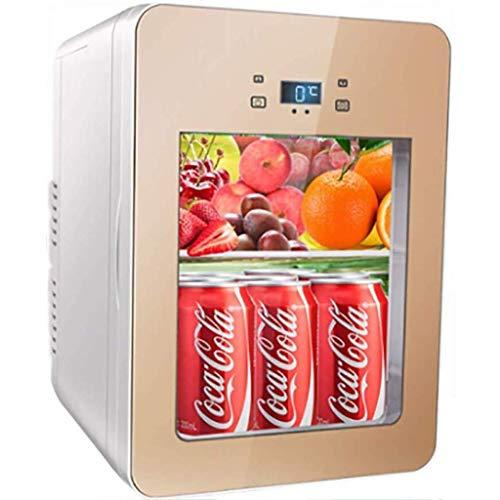 FEE-ZC 22 L transparenter Kühlschrank; leiser Schreibtisch Mini Bar Mini Auto Kühlschrank Kühlschrank Auto Home Doppelte Verwendung Kleiner Haushalt Glas Tragbar Kühlschrank (Farbe: A), a
