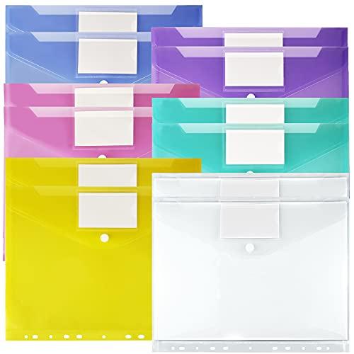 12Pcs Pochette Porte-Document A4, Transparente Pochette Document Plastique A4 à Bouton Pression avec Porte Carte, 6 Couleurs assorties