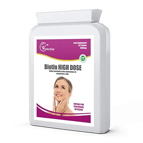 Biotin 10000µg | 120 Tablets | Vitamin B7 | High Strength | Hair & Skin Health | Made in UK | Vitabolize