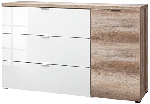 CS Schmalmöbel 45.150.505/029 Highboard Cleo Typ 22, 163 x 50 x 102 cm, wildeiche/weißglas