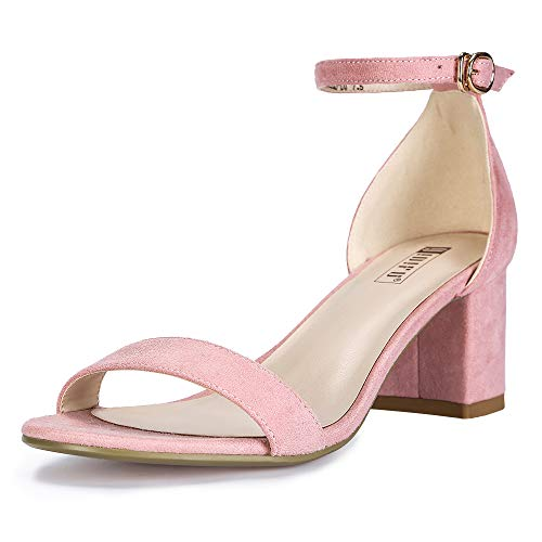 IDIFU Women's Cookie-LO Low Block Heels Chunky Sandals Ankle Strap Wedding Dress Pump Shoes(Pink Suede, 7)
