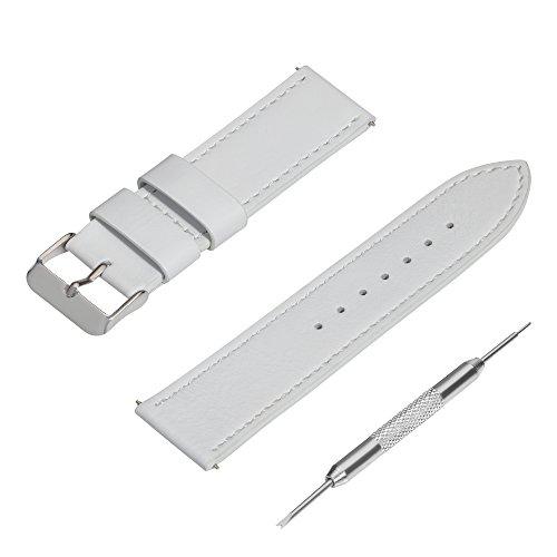 Pedea 60002101 Lederarmband für Smartwatch, 22mm Stegbreite weiß