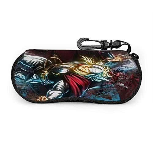 Comic Hero Theme Avengers Thor Brillenetui Sonnenbrille Weiches Etui Ultraleichtes Neopren-Reißverschluss-Brillenetui mit Gürtelclip Multifunktions-Brillenetui