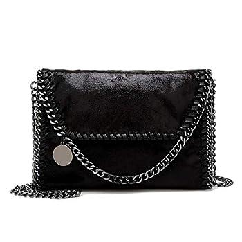 wewo Ladies Small Messenger Bags Vintage Leather Shoulder Bag Elegant Women Handbags Chain Strap Crossbody Bag Black Medium