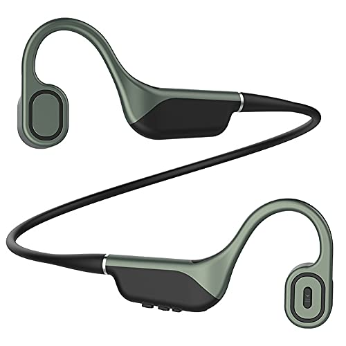 XJPB Auriculares de conducción ósea Bluetooth inalámbrico 5.0 Auriculares de Deportes de Oreja Abierta Auriculares Ajustable de 8 g de Memoria con micrófono Impermeable para Deportes,Verde