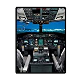 hunand Custom Cool Aircraft Cockpit Design Blanket Flannel Blanket 40 inches x 50 inches Soft Travel Blanket