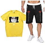 SAFTYBAY Naruto Shirts and Shorts Uchiha Itachi Sport Suit for Mens Boys Naruto Anime Outfit Kids Summer T Shirt Tracksuits (3,M)