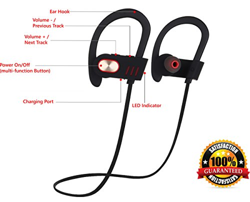Wireless Headphones Over-Ear Sweatproof Earbuds with Microphone for Phone Calls - Best Headset Earphones for Running Exercise Sport Gym on iPhone 6 6s Plus 5C 5S Android Samsung Galaxy S6 S5