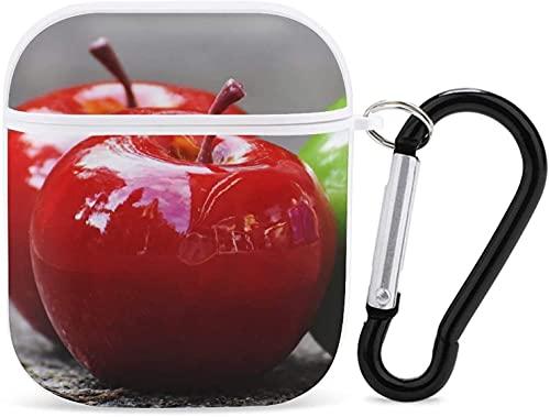 Compatible con Airpods Funda protectora para Apple Airpods 2 y 1, funda rígida a prueba de golpes, con llavero portátil para niñas, mujeres, hombres, frutas, manzanas blancas, rojas y verdes1