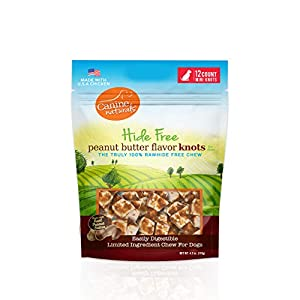 Canine Naturals Natural Peanut Butter Chew – Mini Knot- 12 Pack | 100% Rawhide Free and Collagen Free Dog Treats | Made with Real Peanut Butter | All-Natural and Easily Digestible
