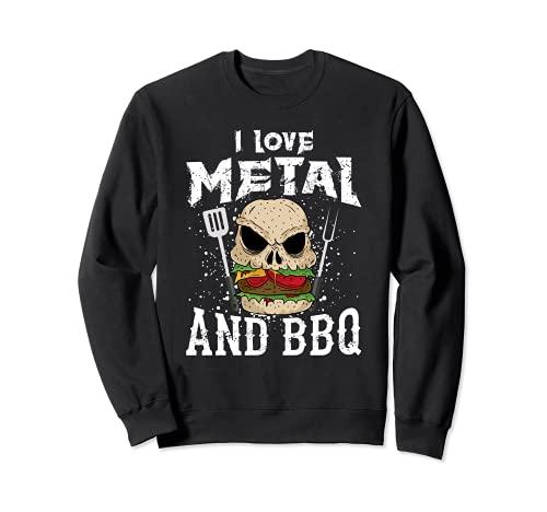 Heavy Metal And Barbecue - Hard Rock Biker BBQ Rockabilly Sweatshirt