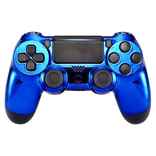 eXtremeRate Hülle für PS4 Controller, Case Gehäuse Cover Oberschale Schutzhülle Skin Schale Shell für PS4 Pro PS4 Slim Playstation 4 Controller (CUH-ZCT2 JDM-040 JDM-050 JDM-055)-Chrome Blau