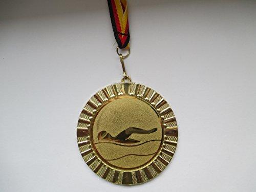Fanshop Lünen Medaillen - Große Metall Medaille 70mm - (Gold) - Schwimmen - Schwimmensport - mit Alu Emblem 50mm - (Gold) - mit Medaillen-Band - (e107) -