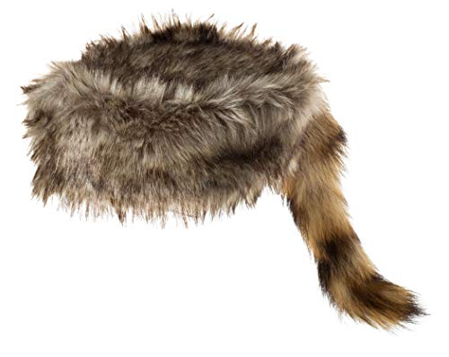 Daniel Boone & Davy Crockett Style Raccoon Hat - Synthetic Cap with Real Raccoon Tail - X-Large Brown