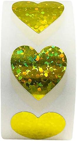 1 Heart Argento metallizzato. Adesivi a forma di cuore da 2,5 cm
