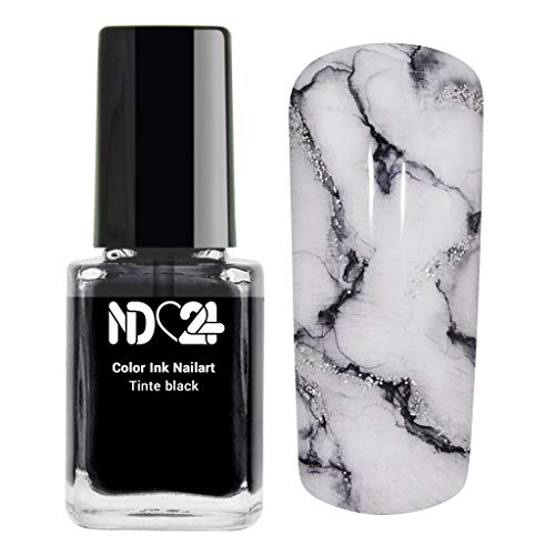 Color Ink Nail Art Tinte Schwarz Marmor-Look - Made in Germany - 12ml