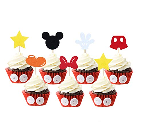 Mickey Inspired Cupcake Toppers (Set of 30) Kids Birthday Party Supplies Decorations Baby Shower Parties