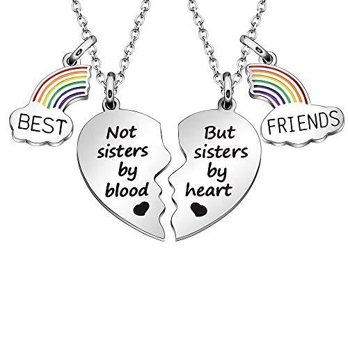 """Maxforever - Collana dell'amicizia con ciondolo a forma di cuore con scritta """"Best Friends"""", per i migliori amici (non sorelle di sangue ma sis by heart)"""