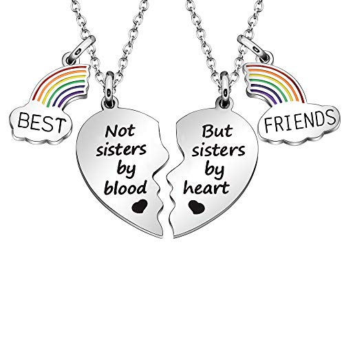 Maxforever Best Friends Gifts Best Friends 2 Split Heart Necklaces Friendship Jewelry Birthday Christmas Gifts for Best Friends (Not sisters by blood but sisters by heart)