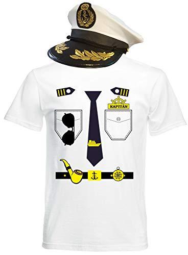 aprom T-Shirt Kapitän Kostüm Look - Matrose Karneval Mit Hut KAP (2XL)