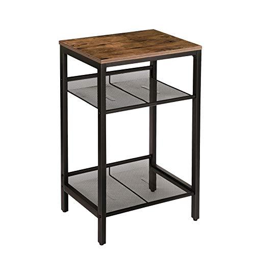 HOOBRO Beistelltisch, Telefontisch Vintage, Sofatisch mit 2 verstellbaren Gitterböden, kleine Kaffeetisch, hoch und schmal, einfach zu Montieren, Tisch für Wohnzimmer, Dunkelbraun EBF01DH01