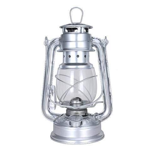 weichuang Lámpara de huracán de ahorro de energía de 25 cm, lámpara de queroseno retro clásica, 6 colores, linternas de queroseno, luces portátiles, adornos para bar, cafetería (color plateado)