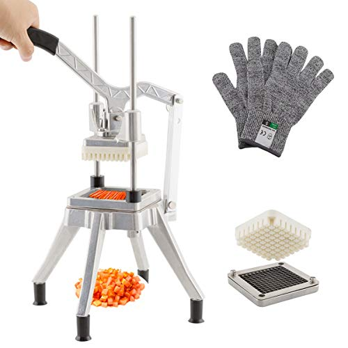 """TUNTROL Commercial Second Generation Vegetable Dicer, 1/4"""" Stainless Steel Blade Quick Slicer Machine Easy Chopper for Onion Tomato Pepper Mushrooms (1/4"""" Blade)"""