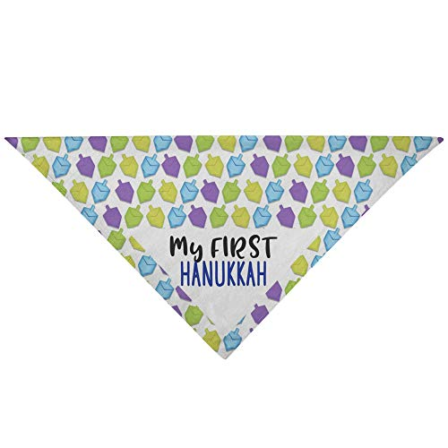 Gifts n'Shtick My First Hanukkah Dog Bandana | Machine Washable (Dreidel Print)