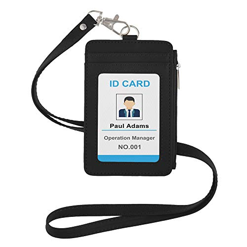 GOGO - Soporte para tarjetas de crédito de piel sintética con bolsillo lateral con cremallera y cordón desmontable para el cuello