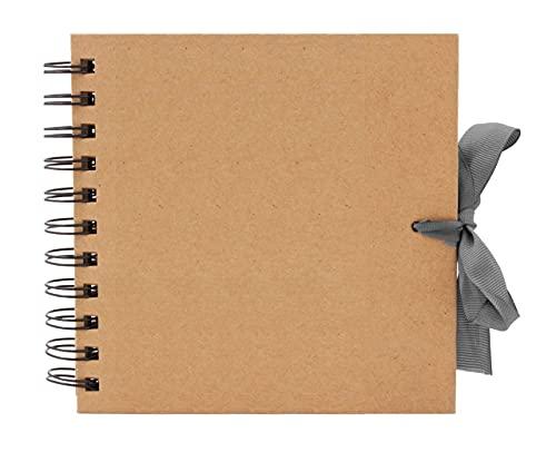 BzBee Álbum de recortes cuadrado de papel kraft marrón, álbum de fotos, lienzo en blanco para manualidades, hojas de papel kraft marrón (15 x 15 cm)