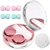 Contact Lens Cases, 5 in 1 Travel Contact Lens Box with Mirror Tweezers Remover Tool Solution Bottle for Outdoor Office Daily Use (Rose Gold)