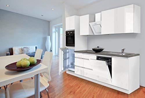 respekta Premium grifflose Küchenzeile Küche Küchenblock 280cm Weiss Front Hochglanz inkl. Induktionskochfeld