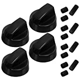 4-Pack of Black Universal Stove/Oven Control Knobs with 12 Adapters by PartsBroz