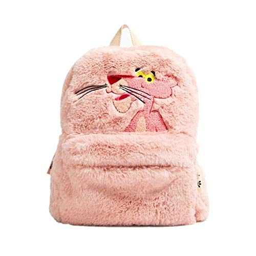 Cute Cartoon Pink Panther Plush Mochila For Mujer Niñas Panther Pink Mochilas Escolares Leopardo Rosa Mochila For Niños Grils Regalos (Color : Pink)