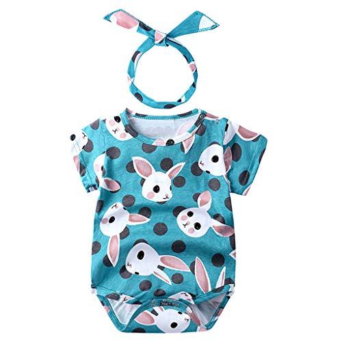 LEXUPE Neugeborene Baby Mädchen Cartoon Kaninchen Print Strampler Bodysuits Playsuit(Blau,90)
